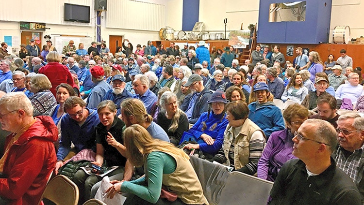 Three hundred fifty filled the Brookings High School Auditorium. When a representative of the Northwest Steelheaders asked the crowed to raise their hands if the supported the 20-year withdrawal the vast majority of the crowd raised their hands.