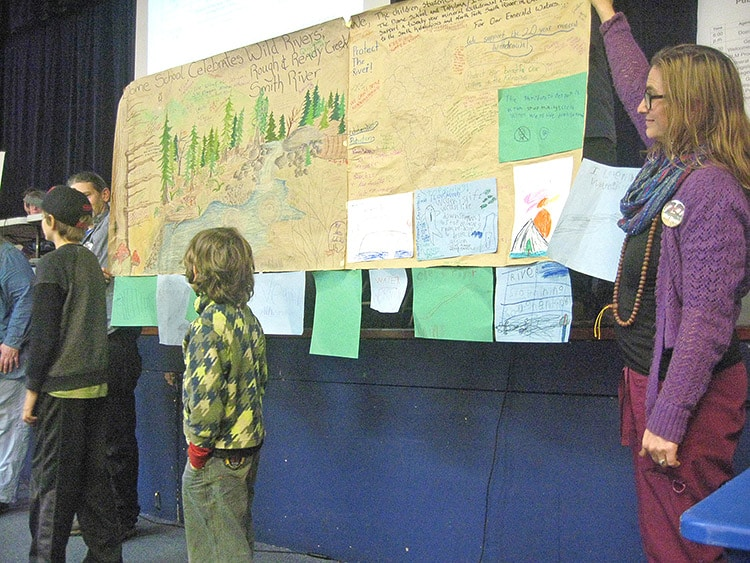 Since it was a school night and a long drive to Brookings, student at the Dome Schools in the Illinois Valley sent their own representatives and a strong (and beautiful) message of support for the 20-year Southwest Oregon Mineral Withdrawal.