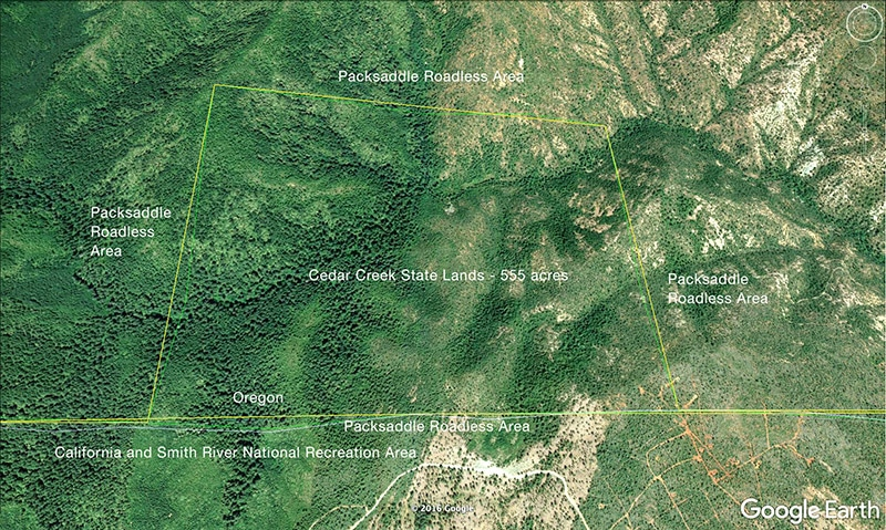 Cedar Creek State of Oregon lands in North Fork Smith River watershed.