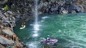 Crystal clear waters, red rock and waterfalls make the North Fork a favorite (Northwest Rafting Co. photo).