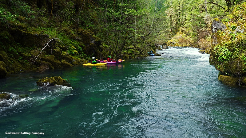 Kayakers on the National Wild and Scenic North Fork Smith River in Oregon